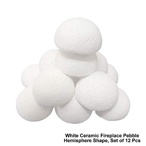 12 Pcs Set of Hemisphere Shape Light Weight Ceramic Fiber Pebbles For All Types of Indoor, Gas Inserts, Ventless & Vent Free, Propane, Gel, Ethanol, Electric or Outdoor Stoves, Fireplaces & Fire Pits.