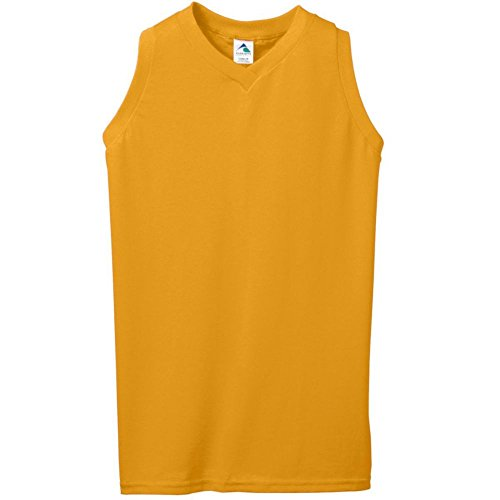 - Augusta Activewear Girls Sleeveless V-Neck Poly/Cotton Jersey, Gold, Small