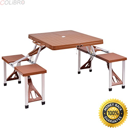 COLIBROX–Outdoor Foldable Portable Aluminum Plastic Picnic Table Camping w/ Bench 4 Seat. aluminum picnic table folding. best multi-purpose foldable aluminium picnic table amazon. portable table.