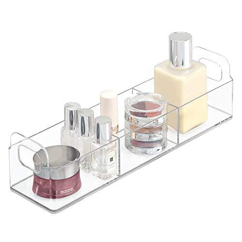 mDesign Small Plastic Bathroom Vanity, Cabinet, Countertop Organizer Storage Station Makeup Holder - Holds Eyeshadow Palettes, Nail Polish, Cotton Swabs, Vitamins, First Aid - 12 Long - Clear