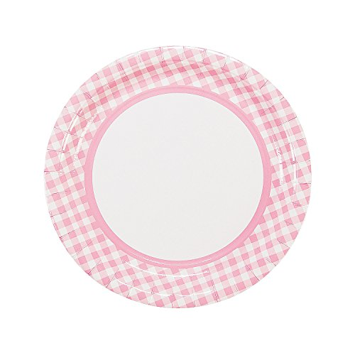 Fun Express - Lt Pink Gingham Dinner Plates (24pc) for Birthday - Party Supplies - Print Tableware - Print Plates & Bowls - Birthday - 24 Pieces ()
