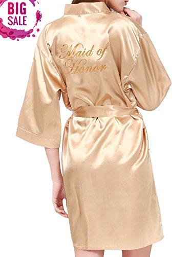 PROGULOVER Women's Short Stain Kimono Robe Gold Glitter Bride Bridesmaid Wedding Party Getting Ready Robe