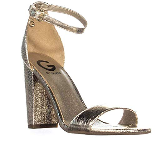 G by GUESS Shantel3 Ankle Strap Block Heel Sandals, Gold, 6.5 Us (Strap Ankle Guess Sandals)