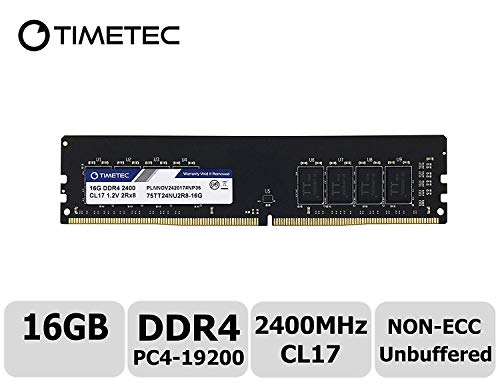 Timetec Hynix IC 16GB DDR4 2400MHz PC4-19200 Non-ECC Unbuffered 1.2V CL17 2Rx8 Dual Rank 288 Pin UDIMM Desktop PC Computer Memory Ram Module Upgrade S Series (16GB)