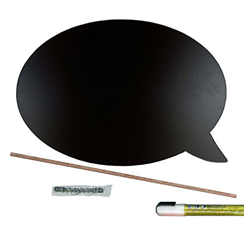 Cohas Chalkboard Speech Bubble includes Liquid Chalk Marker, 1 Large Oval Talk Bubble for Right Hand, White Marker (Chisel Lettering)