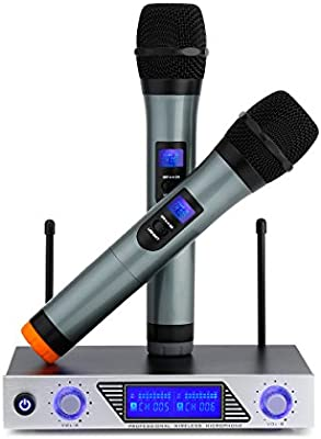 Wireless Microphone us etc. 4 Channels Professional Wireless VHF Microphone Set with Lavalier Lapel Mics Conference Microphone MIC Kit for Teaching Speaking Preaching