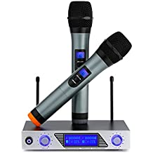 ARCHEER VHF Dual Channel Wireless Microphone Handheld System, Professional Home KTV Set with Dual Channel Handheld Microphone for Conference, Karaoke, Recording, YouTube, Evening Party