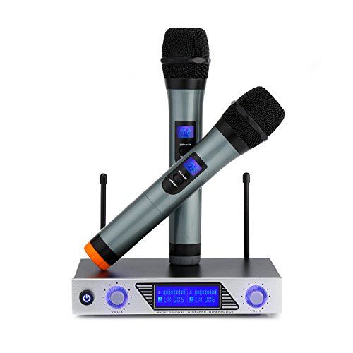ARCHEER Karaoke Wireless Microphone System with LED Display, Dual VHF Handheld Cordless Dynamic Microphones Set Professional Singing Machine for Outdoor Wedding, Conference, Karaoke, Evening Party