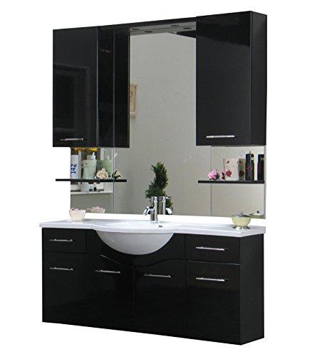 Badezimmer Möbel Set Apollo Bad Schrank Spiegel schwarz hochglanz