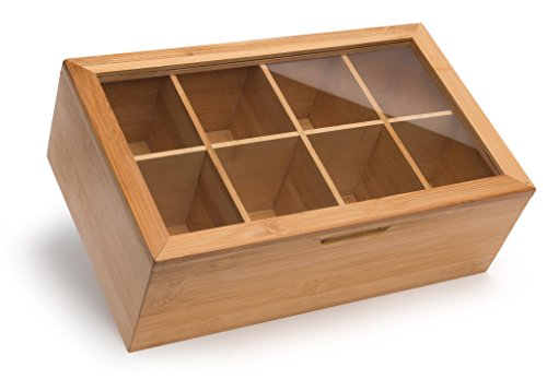 (Randomgrounds Bamboo Tea Box Storage Organizer, Taller Size Holds 120+ Standing or Flat Tea Bags, 8 Adjustable Chest Compartments, Natural Wooden)