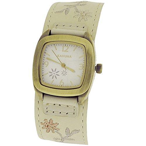 Kahuna Ladies Flower Design Cream Leather Strap Fashion Watch KLS-0226L
