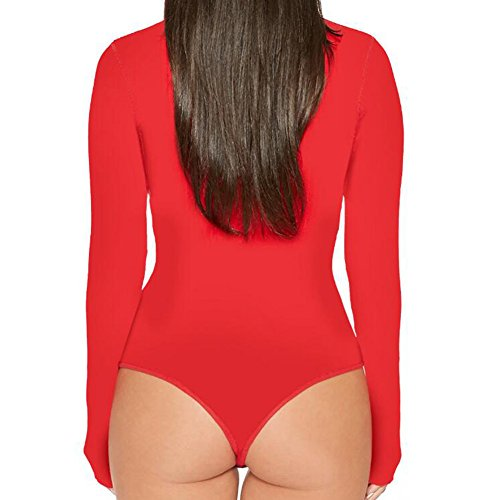 Frauen Stretch Bodysuit Langarm Top Damen Rollkragen Trikot Bodycon Jumpsuit Highdas Rot 3txX1Zv4mL
