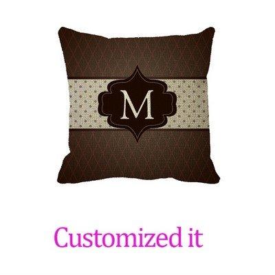 (Elegant Dark Brown Polka Dot Custom Monogram Decorative Pillowcase Linen Burlap Throw Pillow Sham Cushion Cover 16 x 16)
