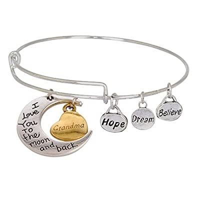 Expandable Charm Bangle Bracelet I Love You to the Moon and Back Grandma-RESTOCKS 4/30
