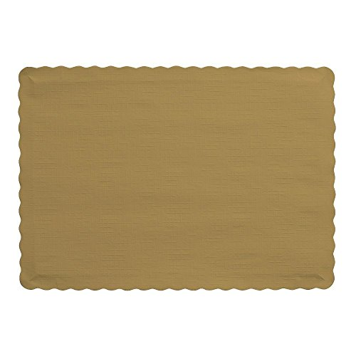 Perfectware  Placemats Gold -100 Emobossed Paper Placemats Gold,100 Pack (Paper Place Mats)