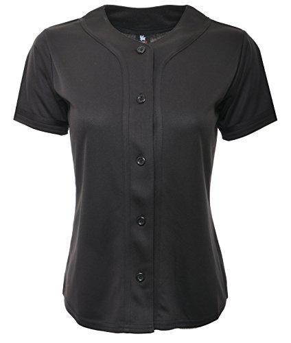 YoungLA Women Baseball Jersey Plain Button Down Shirt Tee 420 All Black ()