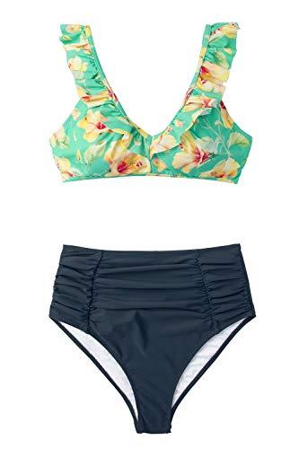 - CUPSHE Women's Ruffled Hibiscus Ruched High Waisted Bikini XX-Large