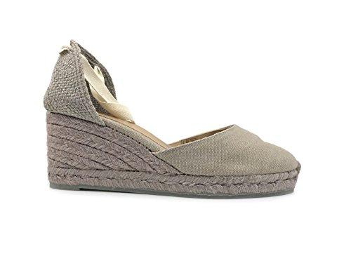 Castañer Grey and Natural Women's Sandal Carina Wedge Stone Jute Fabric TzUqrTZw