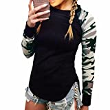 Paixpays Women Black Camouflage Long Sleeve Pullover Shirts Blouse Sweatshirt Tops