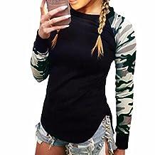 Women Black Camouflage Long Sleeve Pullover Shirts Slim Blouse Sweatshirt Tops