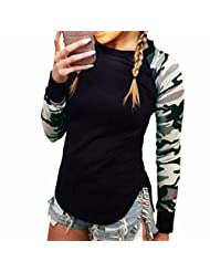 Women Camouflage Long Sleeve Cuff T-Shirt Casual Black Tops Blouses Tees