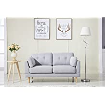 Divano Roma Furniture Mid Century Modern Ultra Plush Linen Fabric Sofa, Color Dark Grey and Light Grey (Light Grey)
