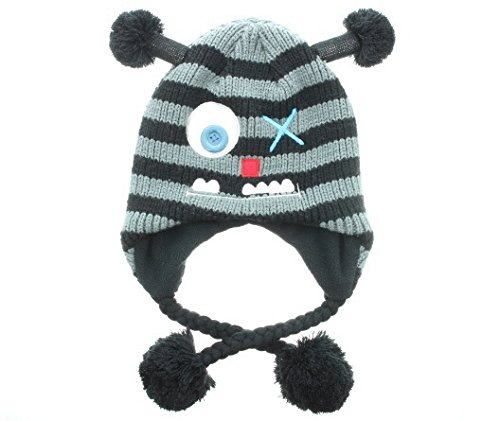 (Milani Unisex Super Cute Animal Monster Face Knit Winter Earflap Tassel Cap Hat - Monster Jr)