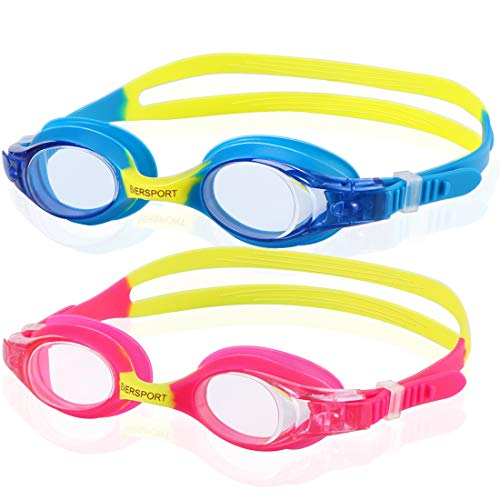 (Toddler Swim Goggles, Pack of 2, Swimming Goggles for Kids (Age 2-12), Toddler Girl Boy Swim Goggles, Swimming Glasses for Children, Anti Fog, Waterproof, Blue/Yellow & Pink/Yellow)