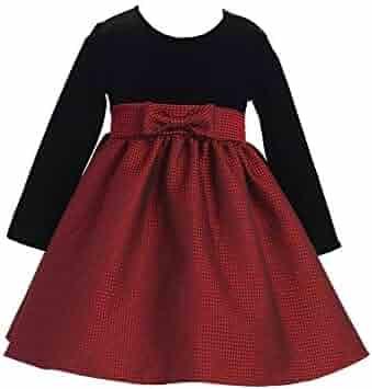 d92a286bb79 Lito Little Girls Red Black Velvet Jacquard Long Sleeved Christmas Dress 2T- 6