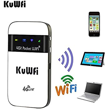 KuWFi 4G LTE Pocket WiFi Router Unlocked LTE 4G Mobile WiFi Hotspot Portable 4G Router with sim Card Slot Goods for Travel and Business Trip Support LTE FDD ...