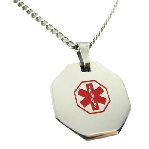 MyIDDr USA Custom Medical Alert Necklace with Free Engraving 316L Steel - Red