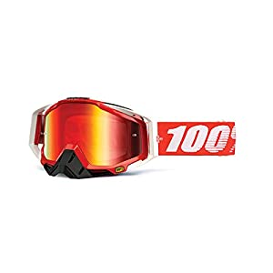 100% unisex-adult Goggle (Fire/Mirror Red,One Size) (RACECRAFT RC FIRE RED Mirror Lens Red)
