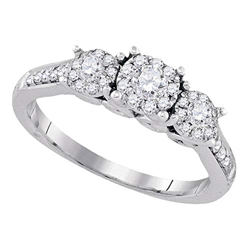 14kt White Gold Womens Round Diamond 3-stone Bridal Wedding Engagement Ring 1/2 Cttw ()