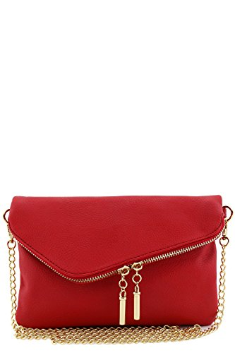 Envelope Wristlet Clutch Crossbody Bag with Chain Strap Red