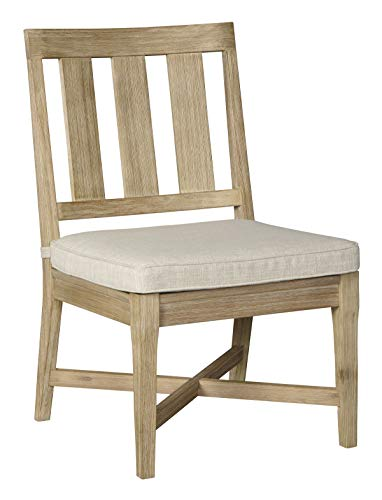 Ashley Furniture Signature Design – Clare View Outdoor Dining Side Chairs – Set of 2 – With Cushions – Eucalyptus Wood – Beige