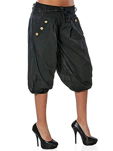 Button 3 Festa Pantaloni Tempo 4 Hippie Estivi Lanterna Vintage Libero Di Pantaloni Pantaloni Nero Donna Eleganti Pantaloni Ragazze Style Fashion Con Sciolto 0dqg0w
