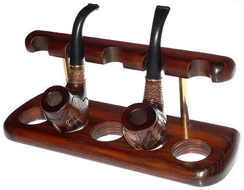 Tobacco Pipes Wooden Display Stand Rack Hold ''Arch V'' For 5 Smoking Pipes