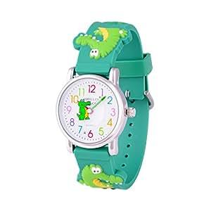 Wolfteeth Young Little Boys Kids Children Cool Wrist Watch Time Teacher, Cartoon Character 3D Crocodile Green Watchband 303608