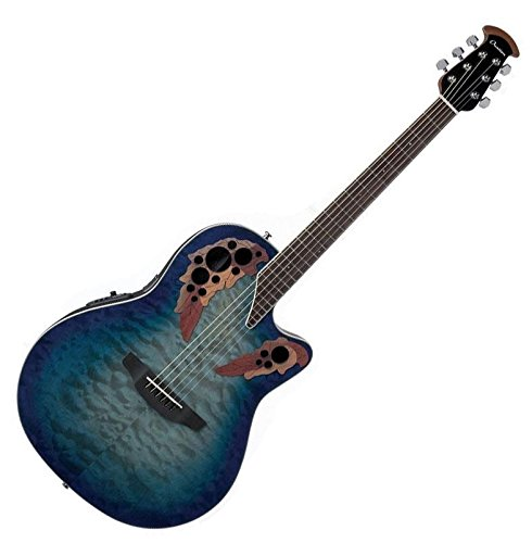 Super Shallow Acoustic Electric Guitar - Ovation Celebrity Collection 6 String Acoustic-Electric Guitar, Right, Regal to Natural Quilted, Super Shallow Body (CE48P-RG)