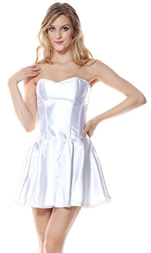[Charmian Women's Fashion Satin Boned Bridal Wedding Cocktail Short Corset Dress White X-Large] (1800s Dresses Costumes)