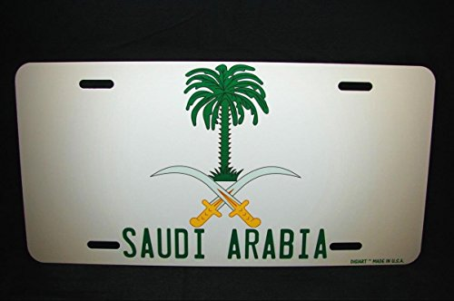 Saudi Arabia Coat Of Arms Flag Metal Novelty License Plate For Cars ???? ??????? for Home/Man Cave Decor by PrettyMerchant