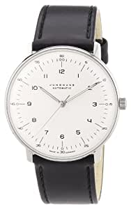 Junghans Men's 'Max Bill' Automatic Stainless Steel and Leather Dress Watch, Color:Black (Model: 027/3500.00)