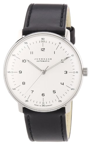 Junghans Max Bill Automatic Mens Watch - 38mm Analog White Face Classic Watch with Luminous Hands - Stainless Steel Black Leather Band Luxury Watch for Men Made in Germany 027/3500.00 (Max Bill Watch)