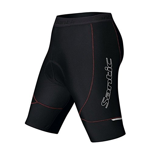 Santic Men's Cycling Shorts 4D Padded Compression Biking Shorts Black