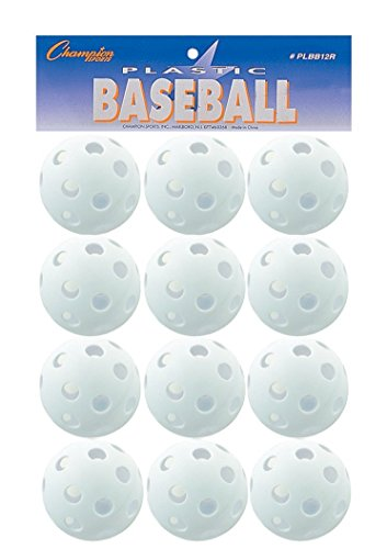 Champion Sports White Plastic Baseball Set PLBB12R