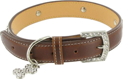 Kakadu Pet 5th Avenue Leather Rhinestone Dog Collar, 1/2″ x 13 1/2″, Brown, My Pet Supplies