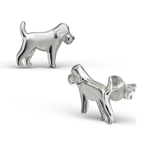 Liara - Dog Plain Ear Studs Sterling Silver 925. Polished And Nickel Free