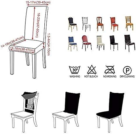 ZZYUBB Sillas 1//2//4 6pcs Stretch Chair Cover Juego De Silla De Comedor Simple Impreso De Una Pieza Short Home Hotel Computer Mesa De Comedor Silla De Cubierta Color : Color 1, Specification : 1pc