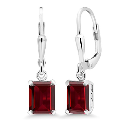 Gem Stone King Sterling Silver Red Garnet Earrings 3.90 cttw Emerald Cut Gemstone Birthstone 8X6MM