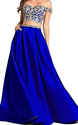 Gown Lace Shoulder BessDress Gold 2018 The Blue BD450 Royal Prom Piece Applique Ball Off Party Dresses Two nBTqBxwF